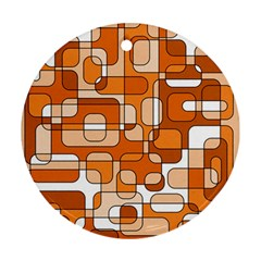 Orange Decorative Abstraction Round Ornament (two Sides)  by Valentinaart