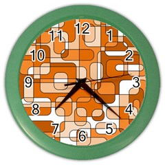 Orange Decorative Abstraction Color Wall Clocks by Valentinaart