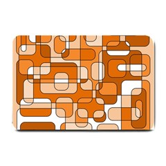Orange Decorative Abstraction Small Doormat  by Valentinaart