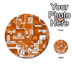 Orange Decorative Abstraction Multi Purpose Cards (round)  by Valentinaart