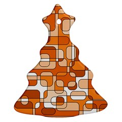 Orange decorative abstraction Christmas Tree Ornament (2 Sides) by Valentinaart