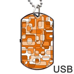 Orange Decorative Abstraction Dog Tag Usb Flash (one Side) by Valentinaart