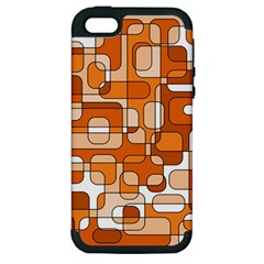 Orange Decorative Abstraction Apple Iphone 5 Hardshell Case (pc+silicone) by Valentinaart