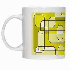 Yellow Decorative Abstraction White Mugs by Valentinaart