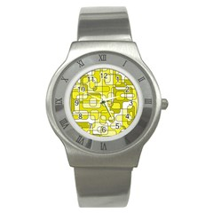 Yellow Decorative Abstraction Stainless Steel Watch by Valentinaart