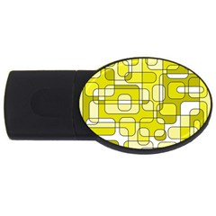 Yellow Decorative Abstraction Usb Flash Drive Oval (4 Gb)  by Valentinaart