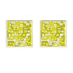 Yellow Decorative Abstraction Cufflinks (square) by Valentinaart