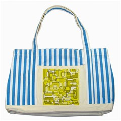 Yellow Decorative Abstraction Striped Blue Tote Bag by Valentinaart