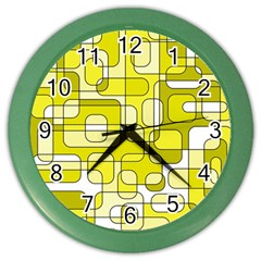 Yellow Decorative Abstraction Color Wall Clocks by Valentinaart