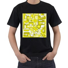 Yellow Decorative Abstraction Men s T Shirt (black) by Valentinaart