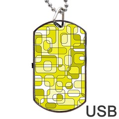 Yellow Decorative Abstraction Dog Tag Usb Flash (two Sides)  by Valentinaart