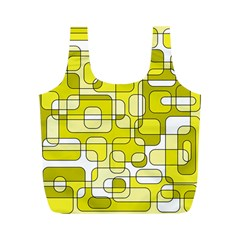 Yellow Decorative Abstraction Full Print Recycle Bags (m)  by Valentinaart