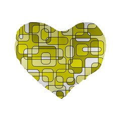 Yellow Decorative Abstraction Standard 16  Premium Flano Heart Shape Cushions by Valentinaart