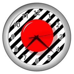 Red Ball Wall Clocks (silver)  by Valentinaart