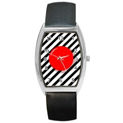 Red Ball Barrel Style Metal Watch by Valentinaart