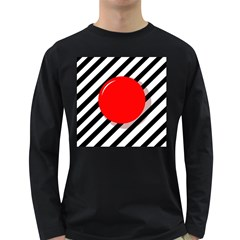 Red Ball Long Sleeve Dark T Shirts by Valentinaart