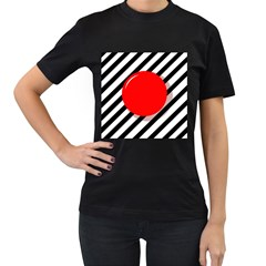 Red Ball Women s T Shirt (black) by Valentinaart