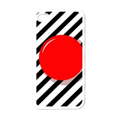 Red Ball Apple Iphone 4 Case (white) by Valentinaart