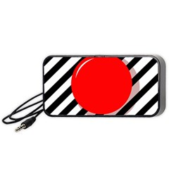 Red Ball Portable Speaker (black)  by Valentinaart