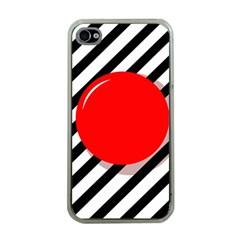 Red Ball Apple Iphone 4 Case (clear) by Valentinaart