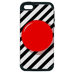 Red Ball Apple Iphone 5 Hardshell Case (pc+silicone) by Valentinaart