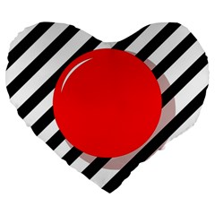 Red Ball Large 19  Premium Flano Heart Shape Cushions by Valentinaart