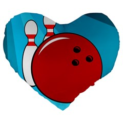 Bowling  Large 19  Premium Heart Shape Cushions by Valentinaart