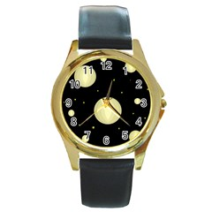 Lanterns Round Gold Metal Watch by Valentinaart