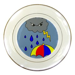 Rainy Day Porcelain Plates by Valentinaart