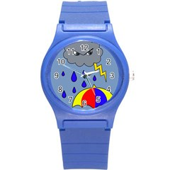 Rainy Day Round Plastic Sport Watch (s) by Valentinaart