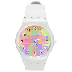 Pastel Decorative Design Round Plastic Sport Watch (m) by Valentinaart