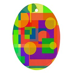 Colorful Geometrical Design Ornament (oval)  by Valentinaart