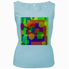 Colorful Geometrical Design Women s Baby Blue Tank Top by Valentinaart