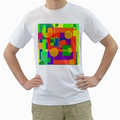 Colorful Geometrical Design Men s T Shirt (white) (two Sided) by Valentinaart