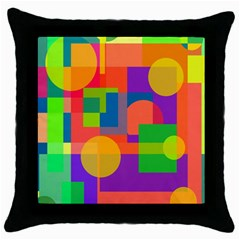 Colorful Geometrical Design Throw Pillow Case (black) by Valentinaart