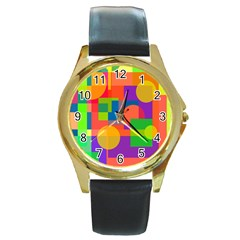 Colorful Geometrical Design Round Gold Metal Watch by Valentinaart