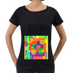 Colorful Geometrical Design Women s Loose Fit T Shirt (black) by Valentinaart