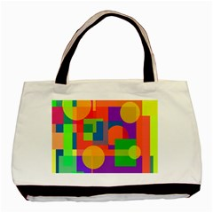 Colorful Geometrical Design Basic Tote Bag (two Sides) by Valentinaart