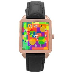 Colorful Geometrical Design Rose Gold Leather Watch  by Valentinaart