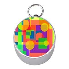Colorful Geometrical Design Mini Silver Compasses by Valentinaart