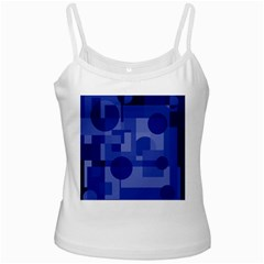 Deep Blue Abstract Design White Spaghetti Tank by Valentinaart