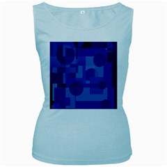 Deep Blue Abstract Design Women s Baby Blue Tank Top by Valentinaart