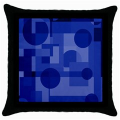 Deep Blue Abstract Design Throw Pillow Case (black) by Valentinaart