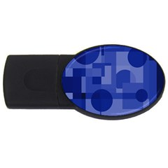 Deep Blue Abstract Design Usb Flash Drive Oval (2 Gb)  by Valentinaart