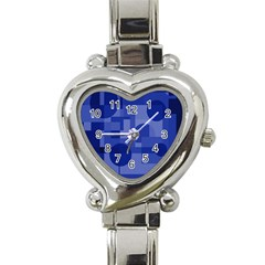 Deep Blue Abstract Design Heart Italian Charm Watch by Valentinaart