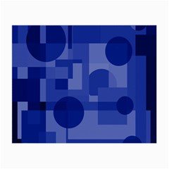 Deep Blue Abstract Design Small Glasses Cloth (2 Side) by Valentinaart