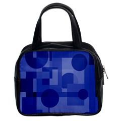 Deep Blue Abstract Design Classic Handbags (2 Sides) by Valentinaart