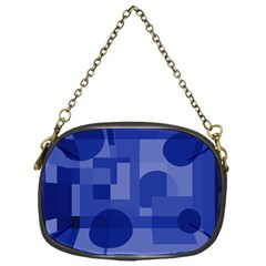 Deep Blue Abstract Design Chain Purses (one Side)  by Valentinaart
