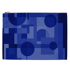 Deep Blue Abstract Design Cosmetic Bag (xxl)  by Valentinaart