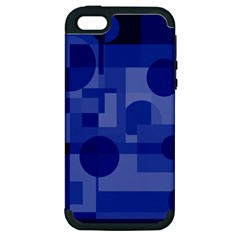 Deep Blue Abstract Design Apple Iphone 5 Hardshell Case (pc+silicone) by Valentinaart